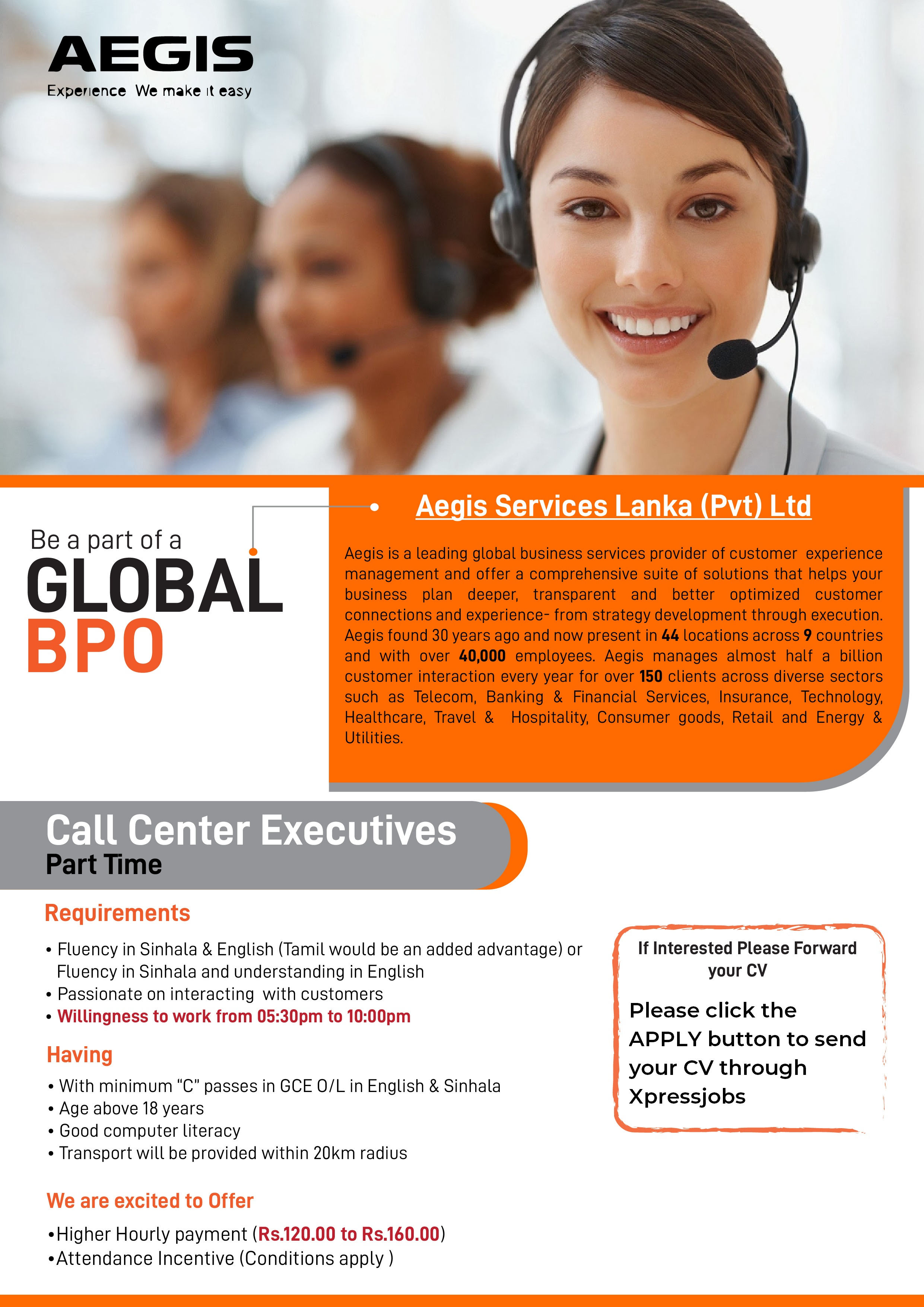 Call Center Executives : PART TIME (Wattala) - AEGIS