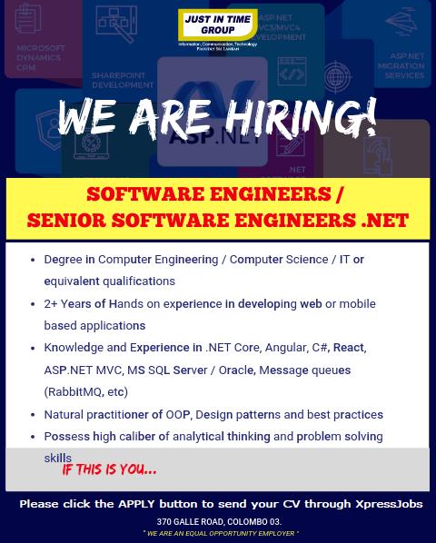 Software Engineers / Senior Software Engineers Net - Just In