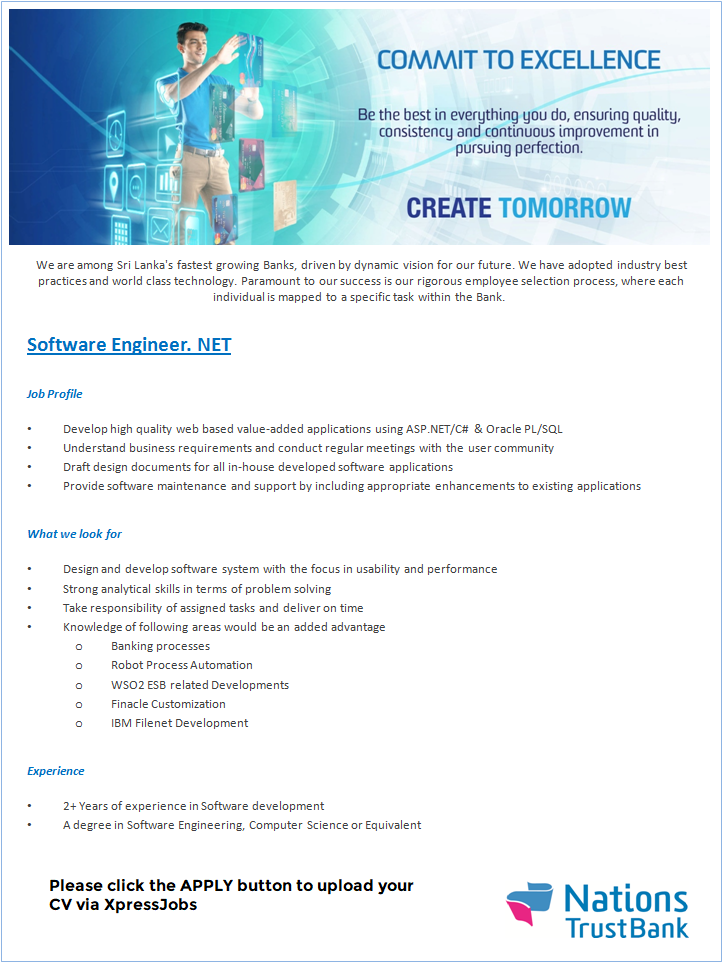 Software Engineers   NET - Nations Trust Bank | XpressJobs