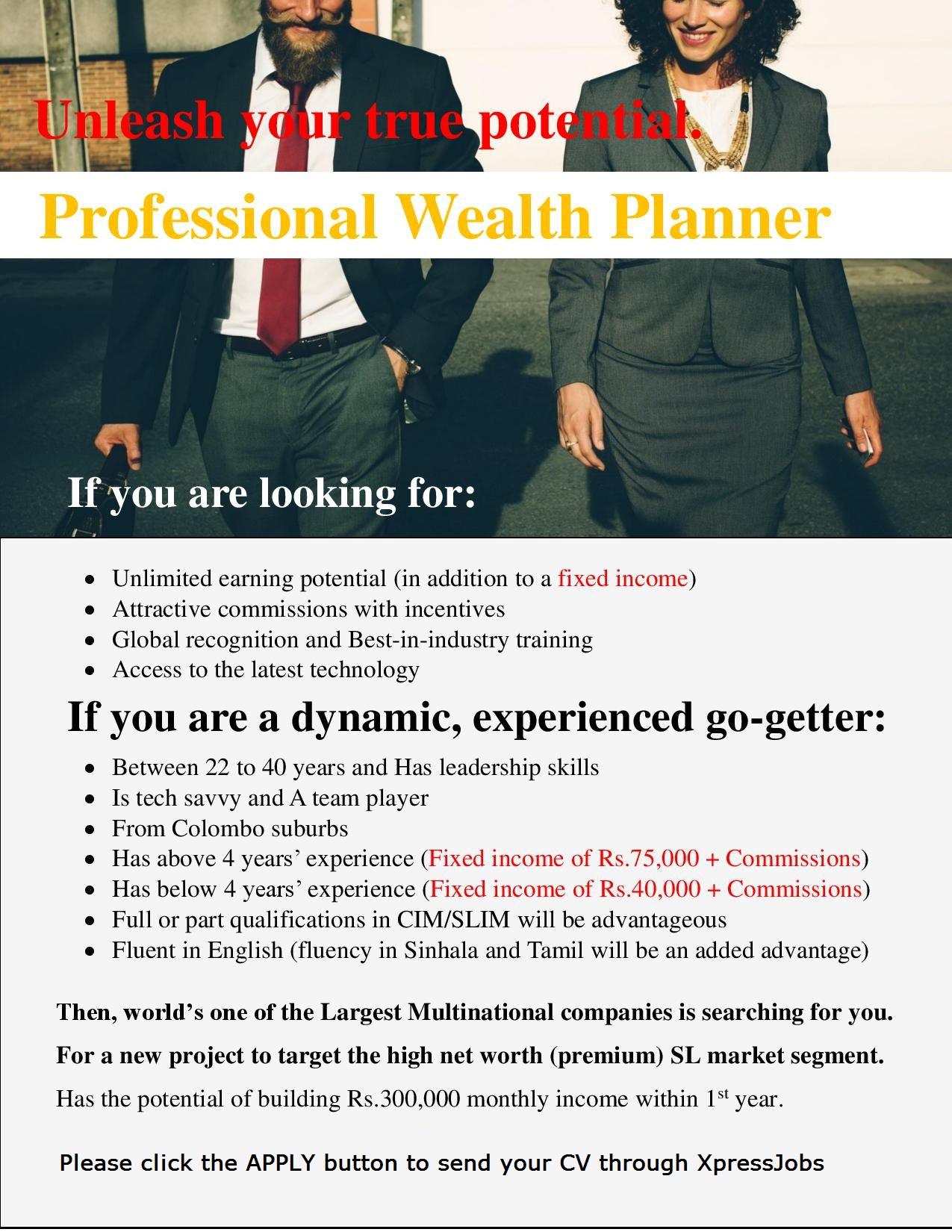 Wealth Planners - A Leading Multinational Company | XpressJobs